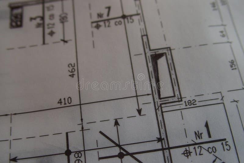 Dibujo técnico manual hecho con un lápiz en el papel de trazo fotos de archivo libres de regalías