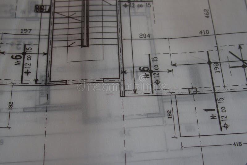 Dibujo técnico manual hecho con un lápiz en el papel de trazo imagen de archivo libre de regalías