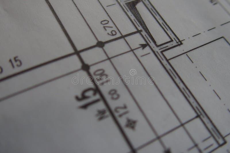 Dibujo técnico manual hecho con un lápiz en el papel de trazo imágenes de archivo libres de regalías