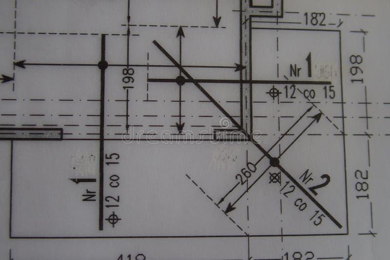 Dibujo técnico manual hecho con un lápiz en el papel de trazo fotografía de archivo