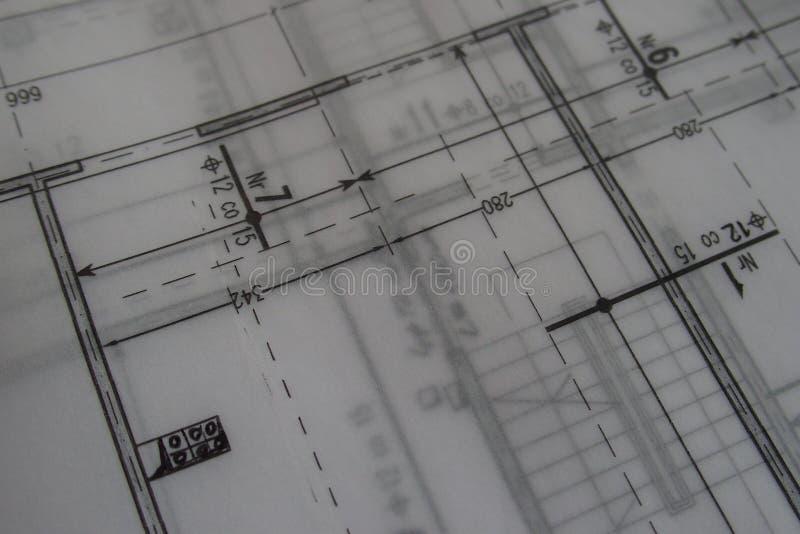 Dibujo técnico manual hecho con un lápiz en el papel de trazo imagenes de archivo
