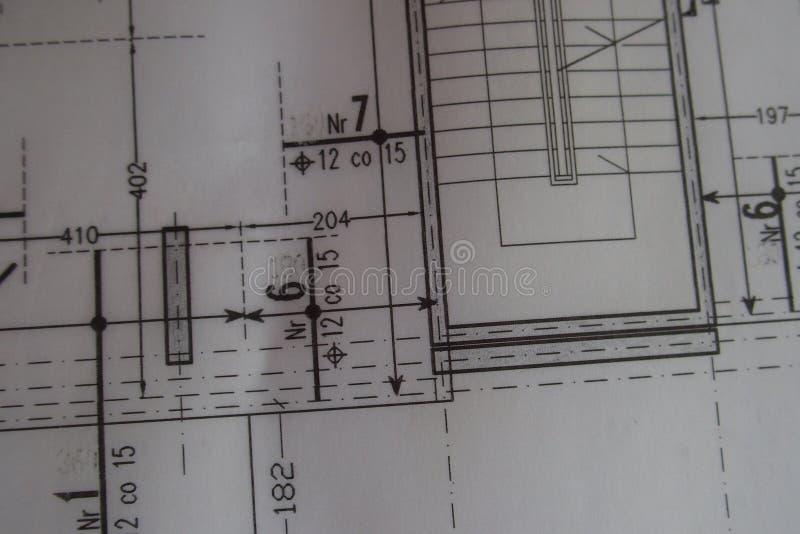 Dibujo técnico manual hecho con un lápiz en el papel de trazo fotos de archivo