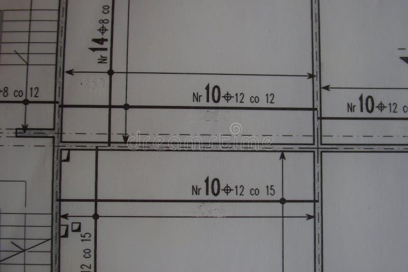 Dibujo técnico manual hecho con un lápiz en el papel de trazo fotografía de archivo libre de regalías