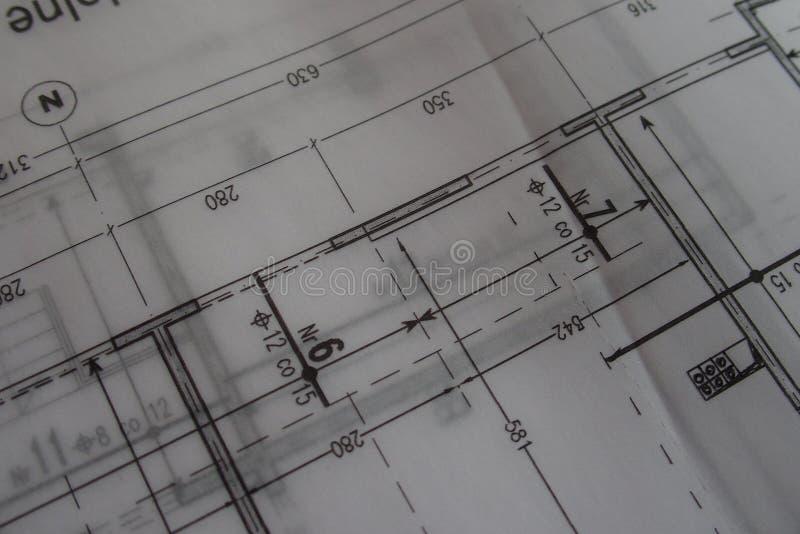 Dibujo técnico manual hecho con un lápiz en el papel de trazo imagen de archivo