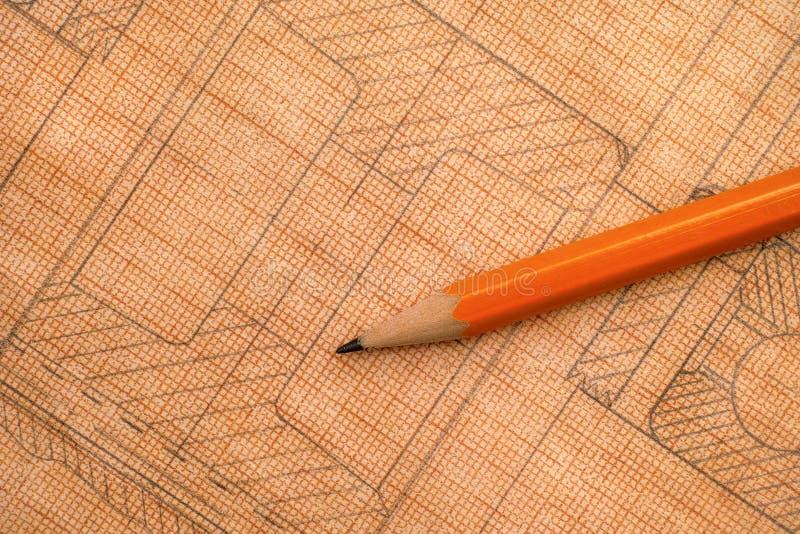 Dibujo técnico viejo en el papel cuadriculado con el lápiz imagen de archivo libre de regalías