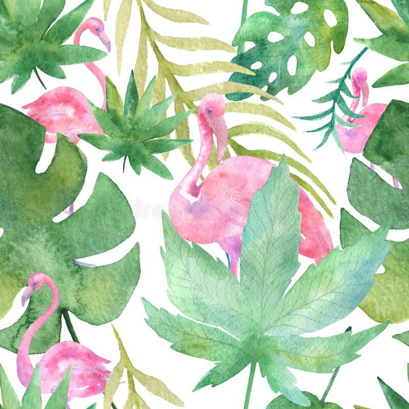 Dibujo tropical de la acuarela, pájaro color de rosa y palmera del verdor, textura verde tropical, flor exótica stock de ilustración