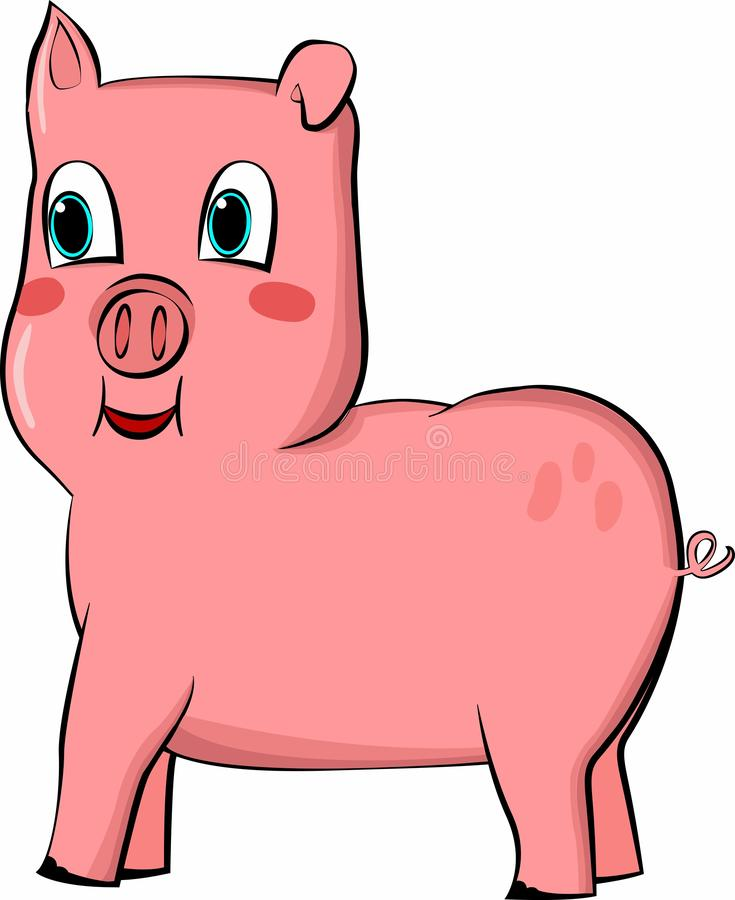 Dibujo/vector de un cerdo rosado lindo con los ojos dulces y sonrisa feliz stock de ilustración