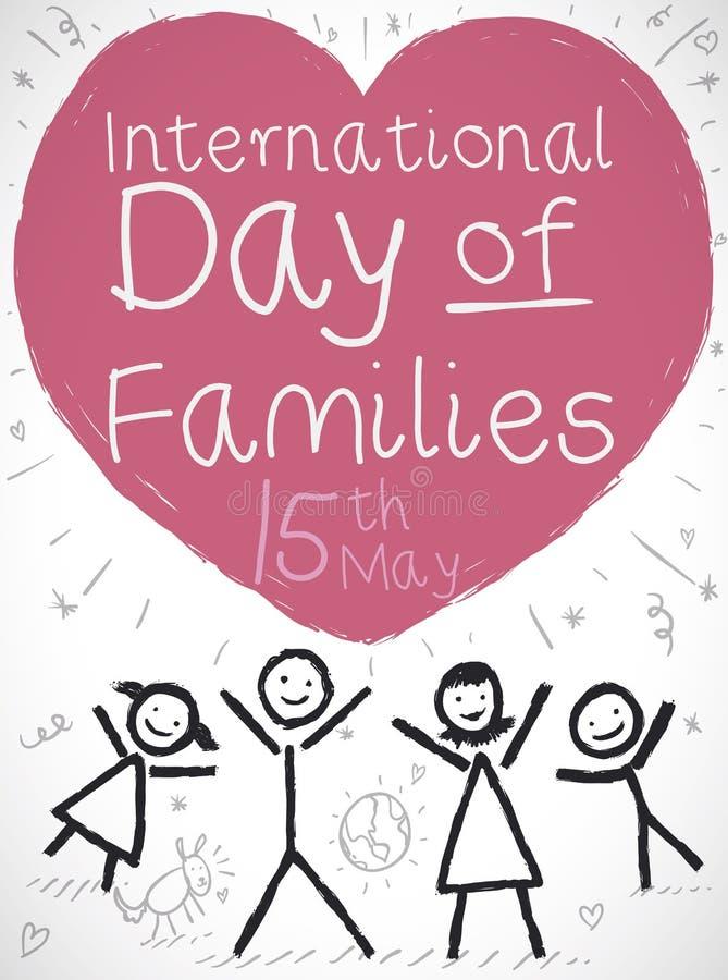 Dibujo y corazón de la familia que celebran el día internacional de familias, ejemplo del vector stock de ilustración