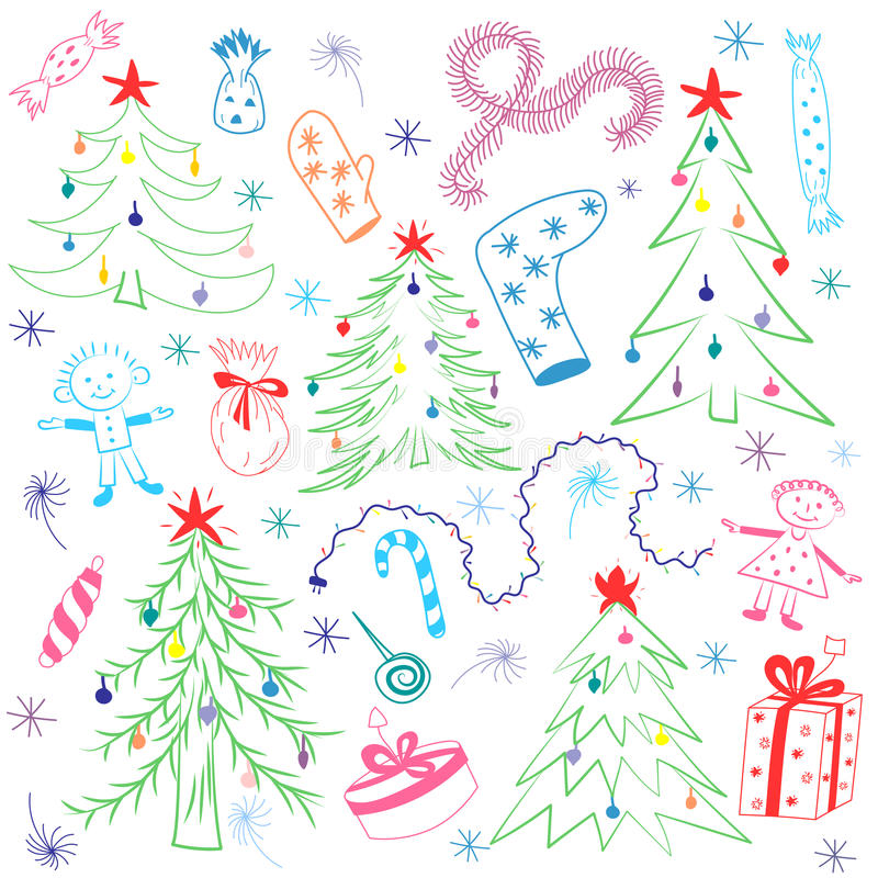 Dibujos coloridos de los niños de abetos Símbolos divertidos y niños del ` s de las vacaciones de invierno del garabato stock de ilustración