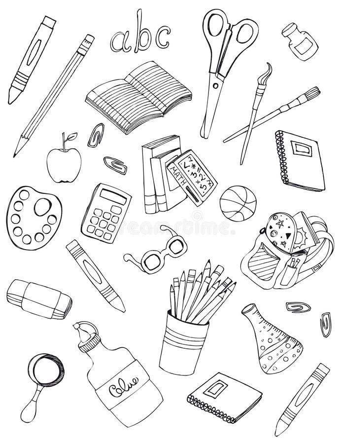 Dibujos de los iconos de la escuela fotografía de archivo