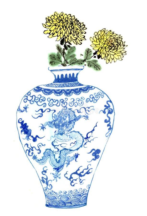 dibujos del Chino-estilo, bosquejos, flor del crisantemo en porcelana azul y blanca stock de ilustración