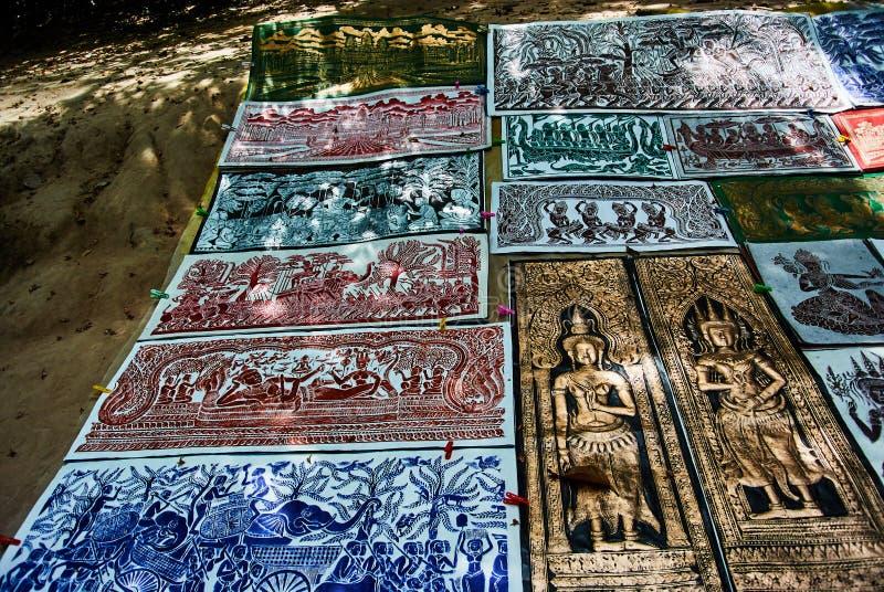 Dibujos del edificio histórico en Angkor Wat Thom Cambodia imagen de archivo libre de regalías