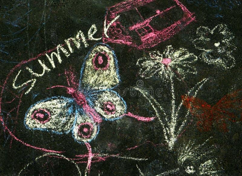 Dibujos del ` s de los niños en el asfalto Mi diseño creativo personal fotos de archivo