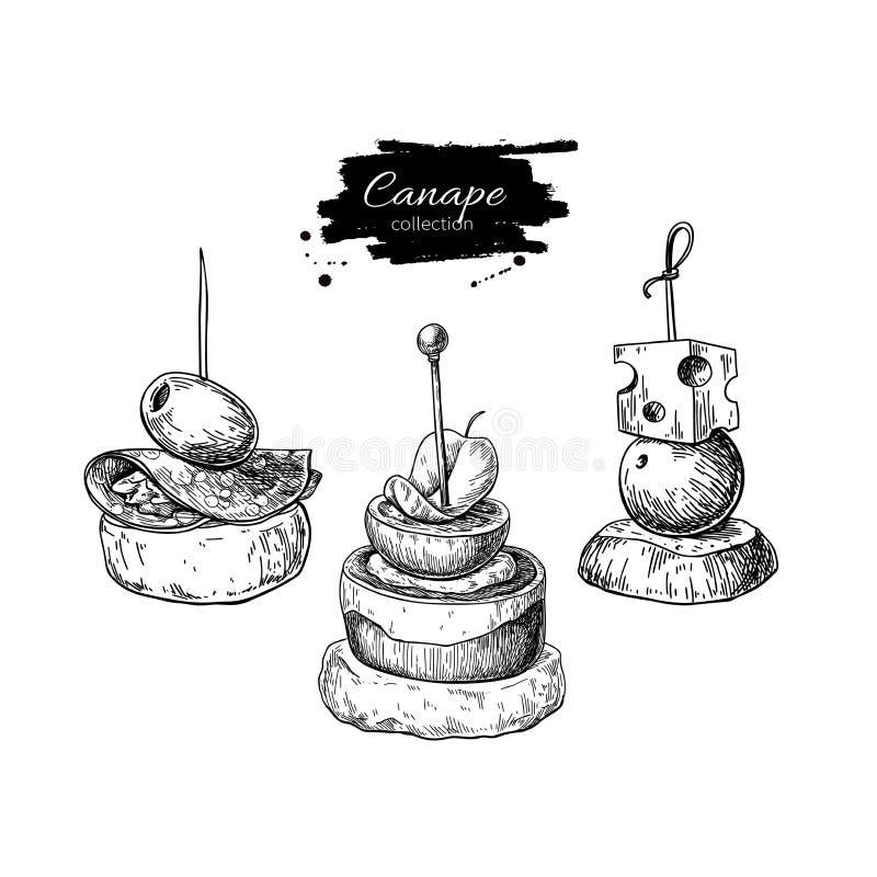 Dibujos del vector del Canape Bosquejo del aperitivo y del bocado de la comida Una f más fina libre illustration