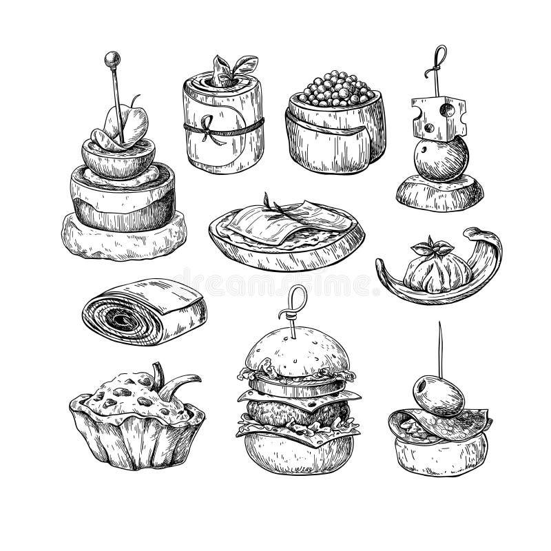 Dibujos del vector del comida para comer con los dedos Bosquejo del aperitivo y del bocado de la comida Ca ilustración del vector