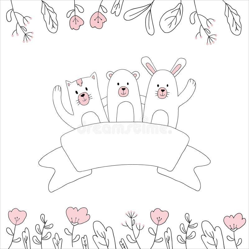 dibujos disponibles de ejemplos de saludo lindos stock de ilustración