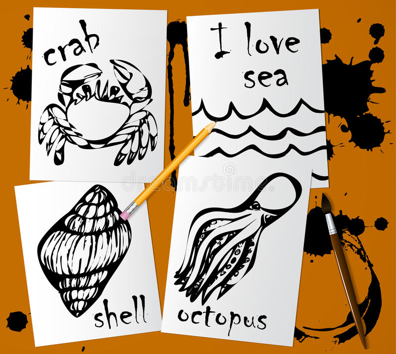 Dibujos gráficos de los animales marinos hechos con rimel negro en el Libro Blanco Dibuje a lápiz, cepillo y las manchas blancas  libre illustration