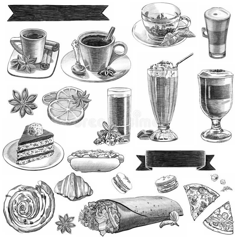 Dibujos gráficos para el café con café y dulces ilustración del vector