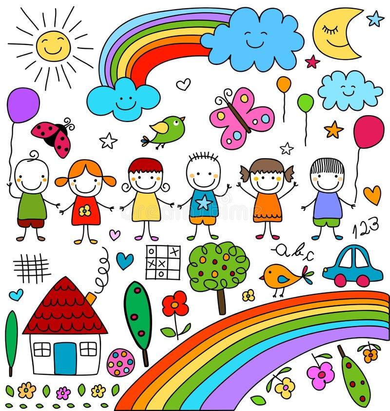 Dibujos infantiles fijados libre illustration