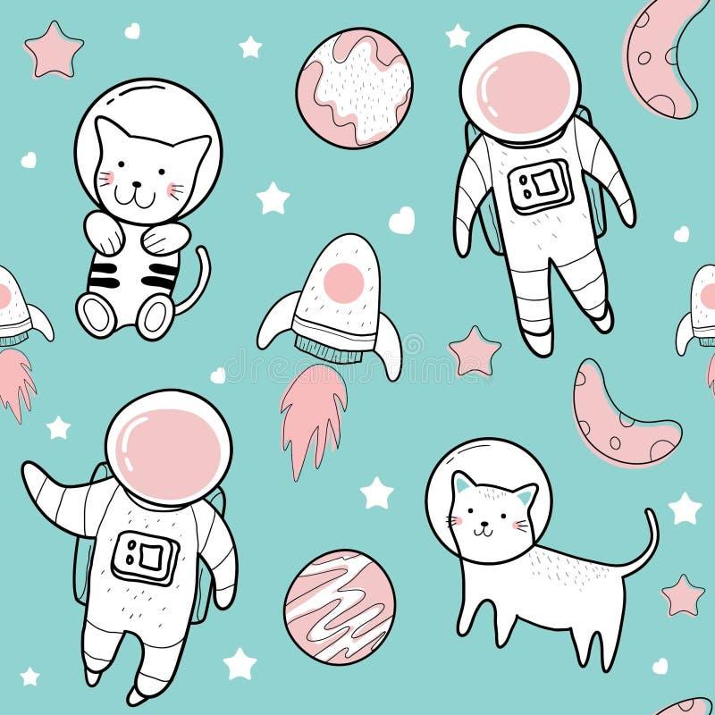Dibujos lindos de la mano de ejemplos lindos de los modelos del astronauta stock de ilustración