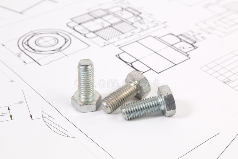 Dibujos técnicos de pernos Ingeniería, tecnología y metalurgia foto de archivo