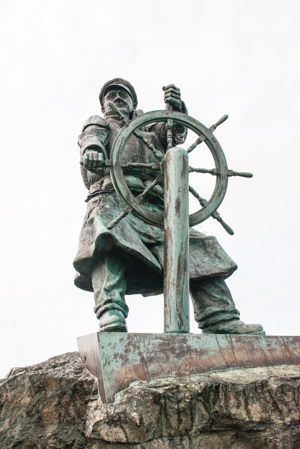 Dic Evans Statue, Moelfre, Anglesey lizenzfreies stockbild