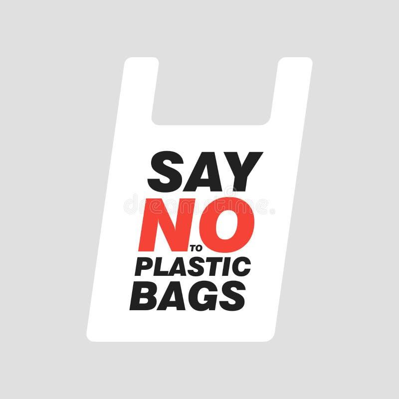 Dica NO ai sacchetti di plastica Conversazione di ecologia Illustrazione editabile piana di vettore, clipart illustrazione di stock