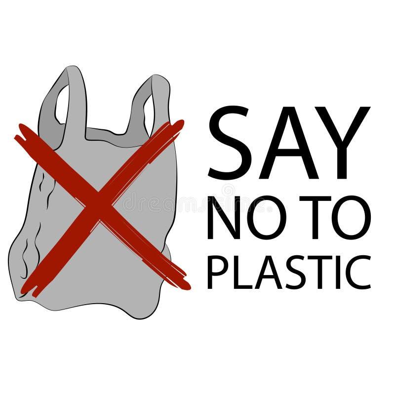 Dica no al manifesto dei sacchetti di plastica illustrazione vettoriale