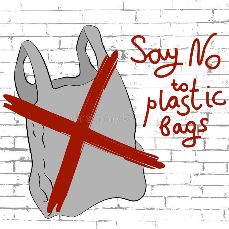 Dica no al manifesto dei sacchetti di plastica illustrazione di stock