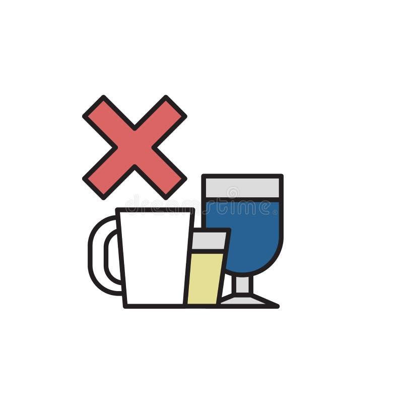 Dica no all'alcool ed alla caffeina Alcool, decaffeinato Illustrazione piana di vettore Isolato su priorità bassa bianca illustrazione vettoriale