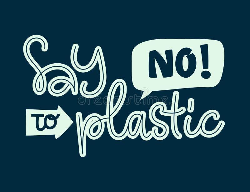 Dica no a testo di plastica - frase dell'iscrizione di tiraggio della mano di colore di Eco illustrazione di stock