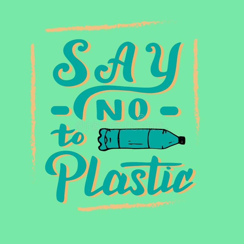 Dica no a testo di plastica Manifesto moderno dell'iscrizione Spreco zero e conservare il concetto del pianeta illustrazione vettoriale