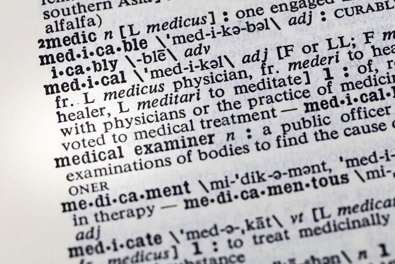 Diccionario de la medicina del tratamiento de la práctica médica imagen de archivo