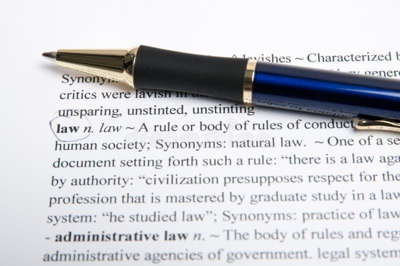 Diccionario de la traducción de la ley foto de archivo