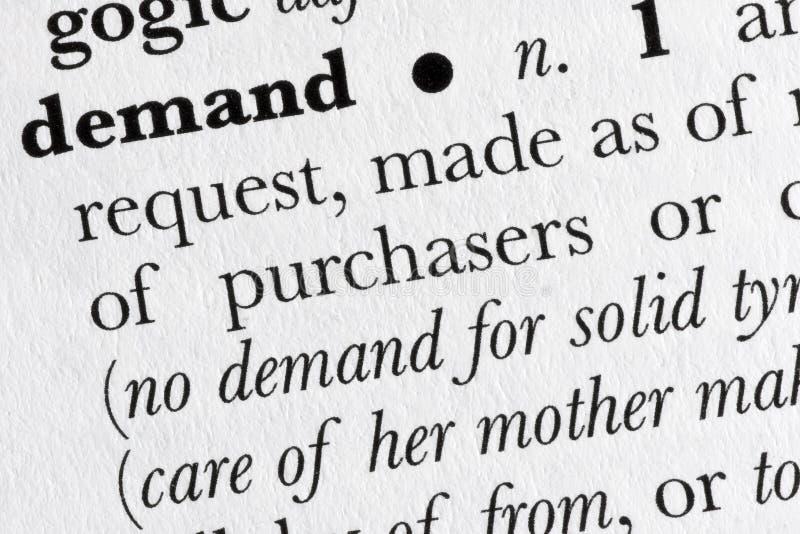 Diccionario de palabra de la demanda definido fotografía de archivo