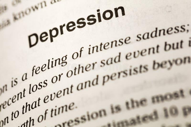 Diccionario intenso de la tristeza de la enfermedad de la depresión foto de archivo
