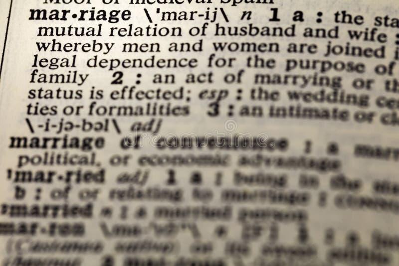 Diccionario mutuo de los pares de la relación del matrimonio fotografía de archivo libre de regalías