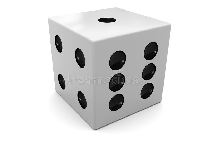 Dice. 3d illustration of single dice over white background stock illustration