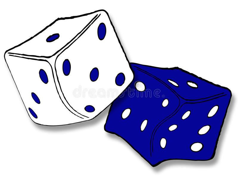 Dice. White and blue dice over white isolated vector illustration