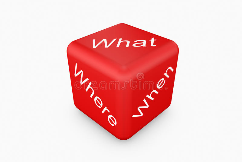 Dice. Red dice white background what when where stock illustration