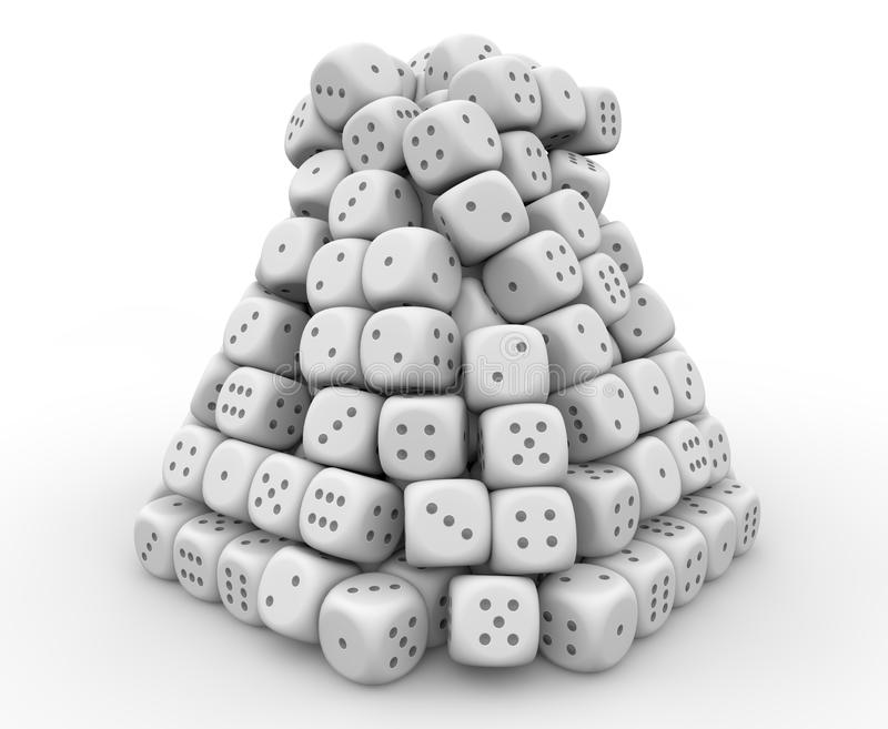Dice. A lot of dice. To a pile of square objects. Imbalance there a lot. And enjoy the game. Play simple stock illustration