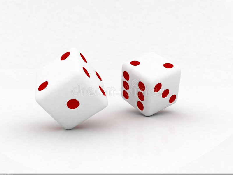 Dice. Two white dice with red dots rolling stock illustration