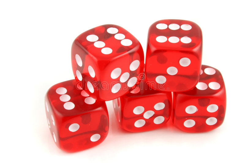 Dice 5 sixes. 5 Dice all showing Six on an isolated background royalty free stock photo