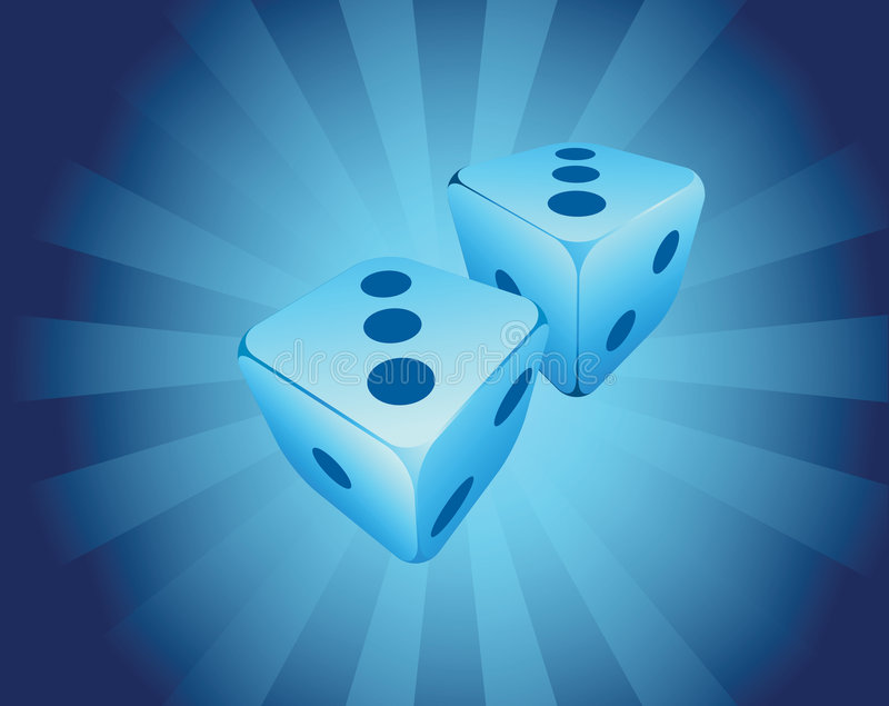 Dice. Illustration with two blue dice on shiny background stock illustration