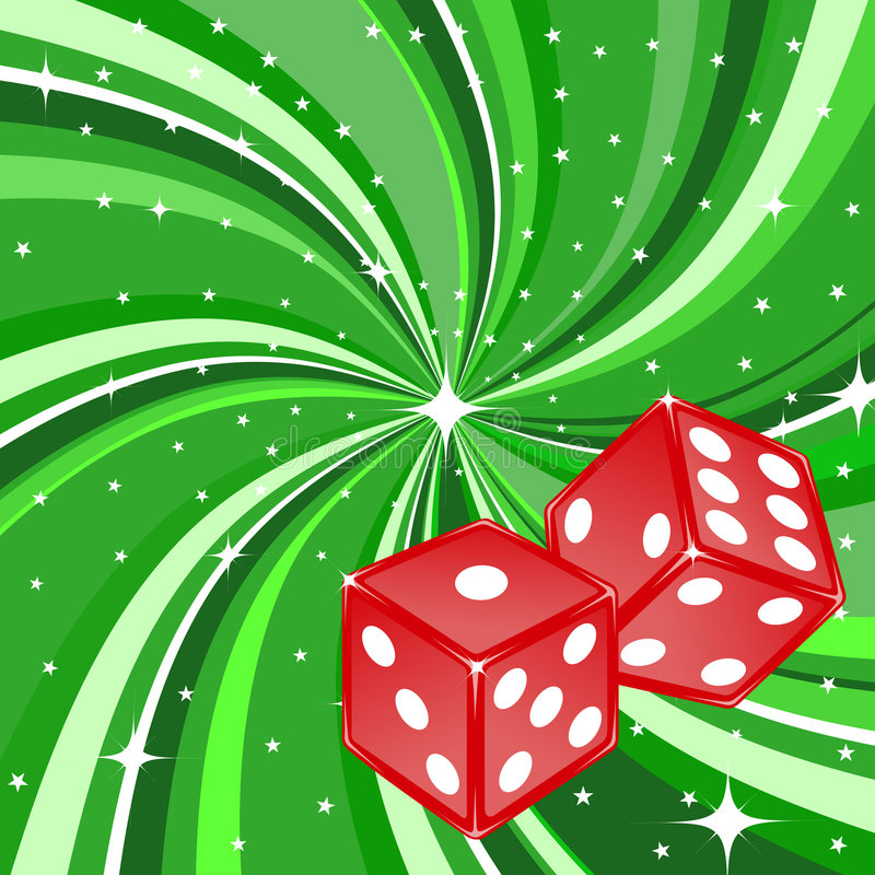 Dice. Vector illustration of dice pair on the beautifull shiny green background. Casino items stock illustration