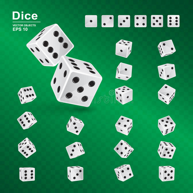 Dice in all possible turns on green checkered background. Casino symbol. Dice gambling template. Vector illustration of white cubes with black pips in all royalty free illustration