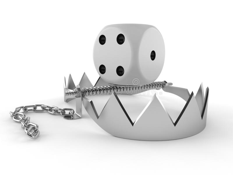 Dice with bear trap. Isolated on white background. 3d illustration royalty free illustration