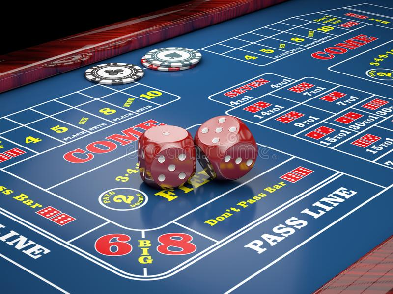 Dice on casino table with casino chips. 3d illustration.  stock illustration