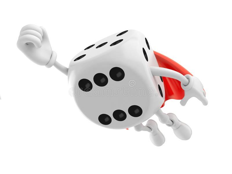 Dice character with hero cape. Isolated on white background. 3d illustration royalty free illustration