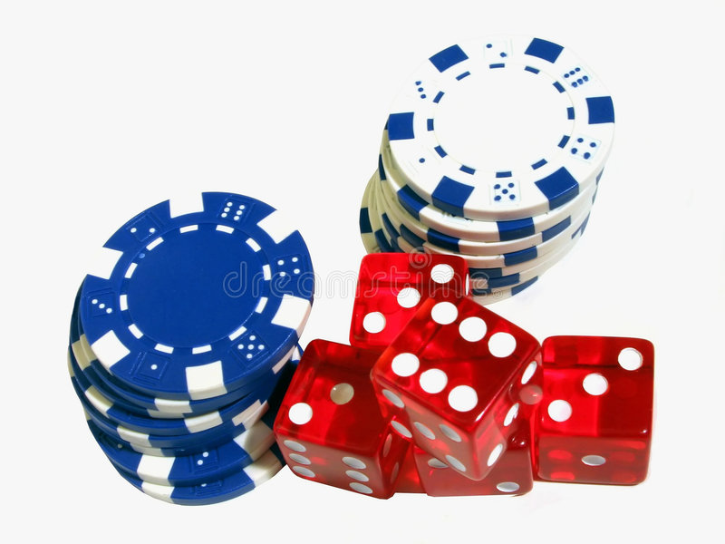 Dice and Chips. Red dice and blue and white poker chips stock photography
